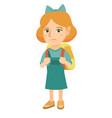 little caucasian sad schoolgirl carrying backpack vector image