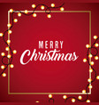 merry christmas card light glowing red background vector image vector image