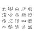 metaverse line icon set vector image