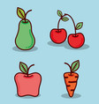 pear apple cherry and carrot healthy food vector image vector image