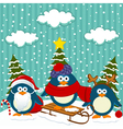 Penguins winter christmas vector image vector image