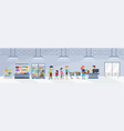 people going shopping in supermarket flat vector image