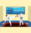 people practicing taekwondo vector image