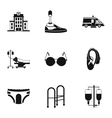 People with disabilities icons set simple style vector image vector image