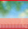 picnic table with red checkered pattern of linen vector image vector image