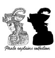 pirate captain in hat and silhouette vector image vector image