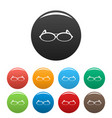 round eyeglasses icons set color vector image