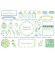 set botanical graphic elements and frames vector image vector image