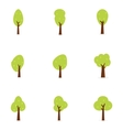 Set of tree flat design vector image