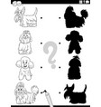 shadow task with cartoon purebred dogs coloring vector image vector image