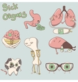 sick organs set brain lungs eyes teeth liver vector image