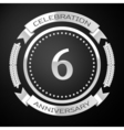 Six years anniversary celebration with silver ring vector image vector image