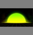 synthwave vaporwave retrowave yellow green sunset vector image