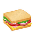 tasty sandwich with cheese salami and vegetables vector image