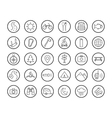Tourism camping linear icons set