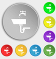 Washbasin icon sign Symbols on eight flat buttons vector image