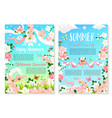 welcome summer poster template with flowers vector image vector image