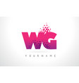 wg w g letter logo with pink purple color and vector image vector image
