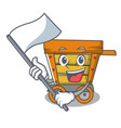 with flag wooden trolley mascot cartoon vector image