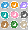 Yin Yang icon symbols Multicolored paper stickers vector image