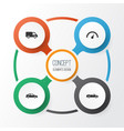 automobile icons set collection of chronometer vector image