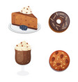 chocolate sweet dessert icons organic food vector image