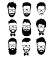 set of hairstyles for men in glasses collection vector image