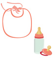 Baby bib bottle and pacifier for girl vector image vector image