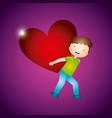 boy carrying a heart design vector image
