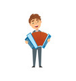 boy playing accordion talented young accordionist vector image vector image
