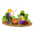 boys make marshmallow on fire concept background vector image