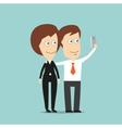 Businessman and business woman taking selfie vector image vector image