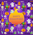 card with cartoon object for halloween vector image