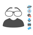 clever spectacles flat icon with free bonus vector image