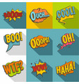 comic sounds icon set flat style vector image vector image