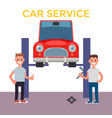 flat design car service car on a lift vector image