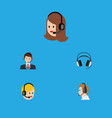 flat icon center set of hotline service call vector image vector image