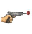 gun shoots a flower sketch engraving vector image vector image