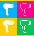 hair dryer sign four styles of icon on four color vector image