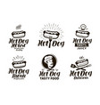 hot dog logo or label fast food eating emblem vector image