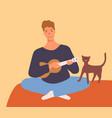 joyful guy playing on ukulele and singing having vector image