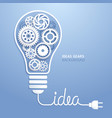 light bulb idea with gears background vector image vector image