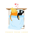 Lover french fries I love food Fastfood and man vector image vector image