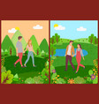 meeting lovers couple walking outdoor vector image vector image