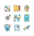 minimal lineart flat business or finance iconset vector image vector image