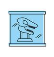 museum dinosaur skeleton in urn glass vector image