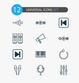 music icons set with loudspeakers equalizer drum vector image