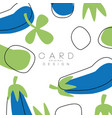 original card with eggplant healthy vegetable vector image vector image