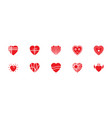 pack of hearts flat icons vector image vector image