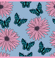 pattern of gerberas and butterflies vector image